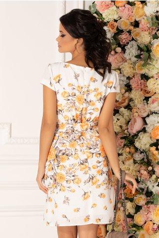 Rochie Fely alba cu imprimeu floral galben