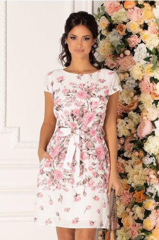 Rochie Fely alba cu imprimeu floral roz