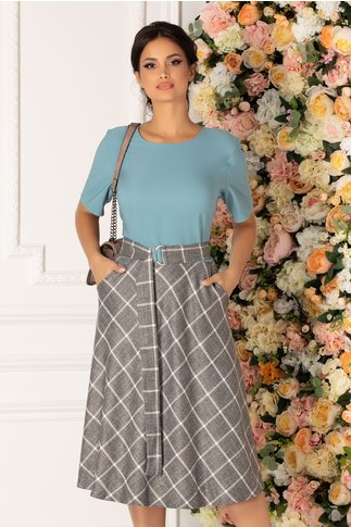 Rochie Fely bleu cu carouri gri la baza