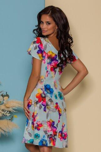 Rochie Fely bleu cu imprimeu floral colorat