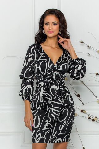 Rochie Fely neagra cu imprimeu abstract
