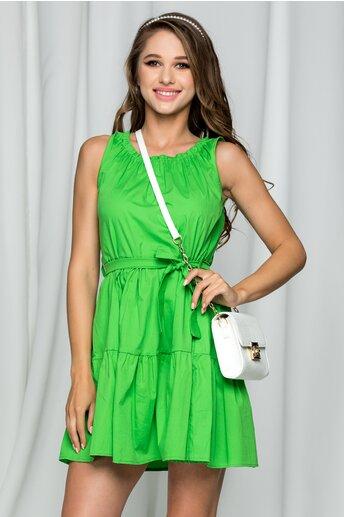 Rochie Fernanda verde din poplin accesorizata cu un cordon in talie