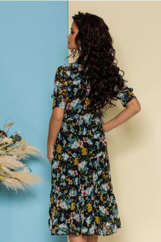 Rochie Ferny neagra cu imprimeuri florale multicolore