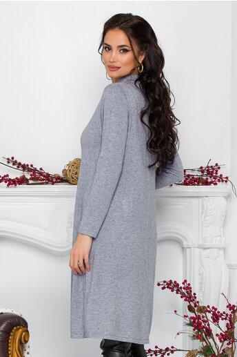 Rochie Feya gri din tricot cu nasturi in lateral