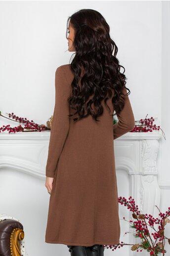 Rochie Feya maro din tricot cu nasturi in lateral