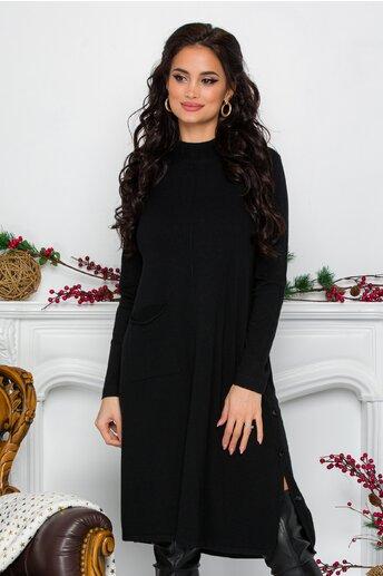 Rochie Feya neagra din tricot cu nasturi in lateral