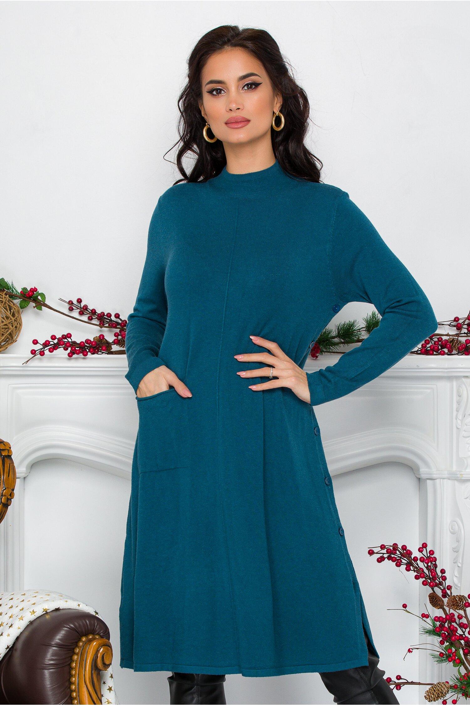 Rochie Feya turcoaz din tricot cu nasturi in lateral