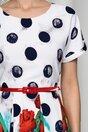 Rochie Flavia alba cu buline si imprimeu floral la baza
