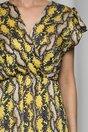 Rochie Flavia galbena cu imprimeu snake