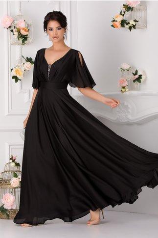 Rochie Flavia neagra lunga cu maneci decupate