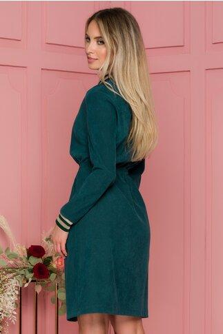 Rochie Flavia reiata verde cu snur in talie si guler tip rever