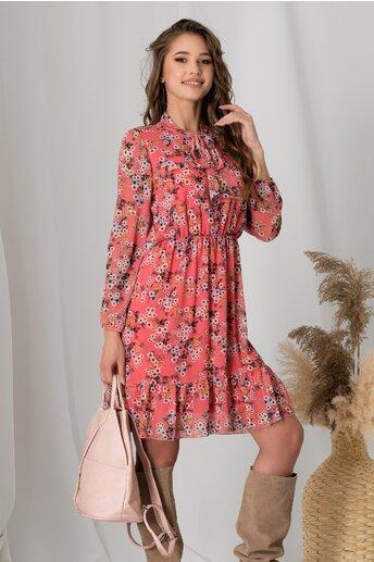 Rochie Flavia roz cu imprimeu floral