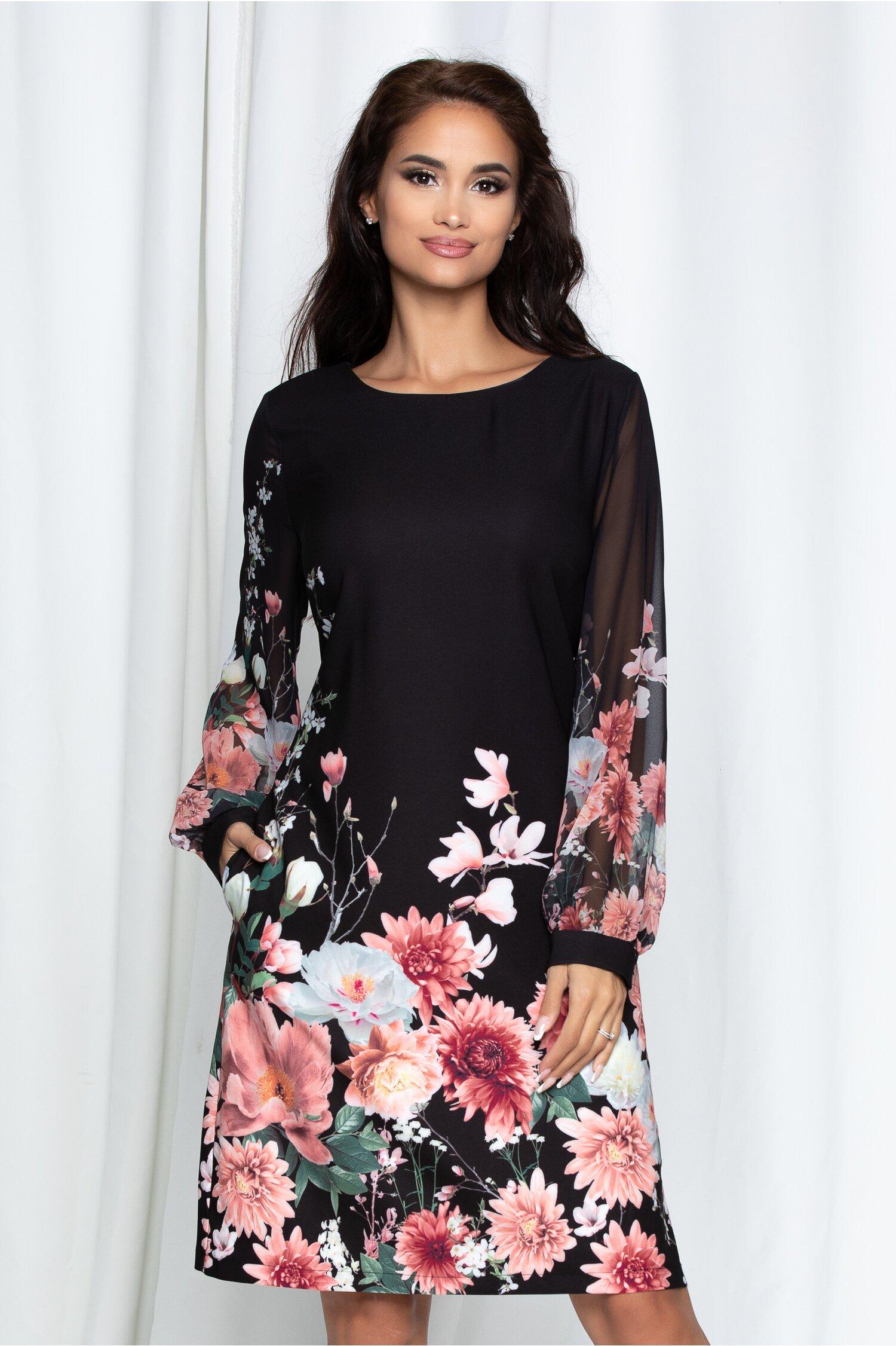 Rochie Flora neagra cu imprimeuri florale si maneci din voal
