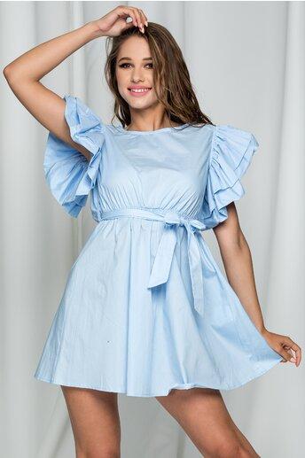 Rochie Florence bleu cu maneci supradimensionate
