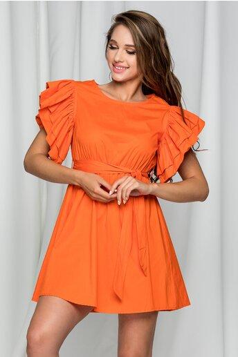 Rochie Florence orange cu maneci supradimensionate