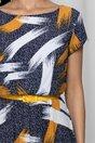 Rochie Flori bleumarin cu imprimeu galben mustar