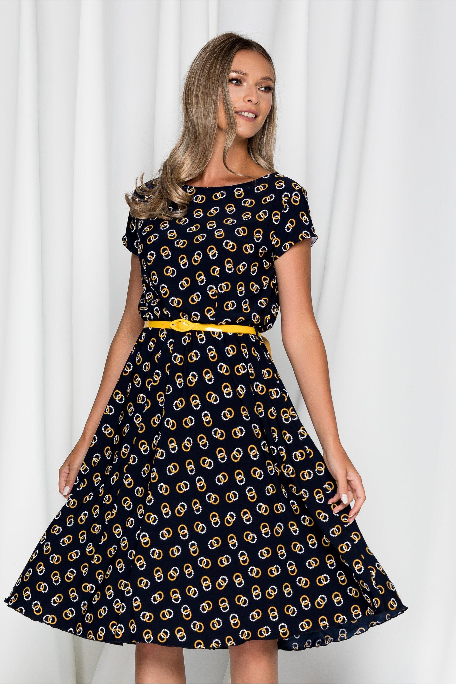 Rochie Flori bleumarin cu imprimeu galben mustar cercuri si curea in talie