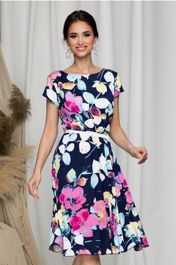 Rochie Flori bleumarin cu imprimeuri colorate