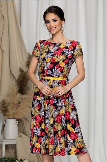 Rochie Flori bleumarin cu imprimeuri in nuante de galben si rosu