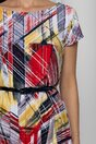 Rochie Flori cu imprimeu multicolor si curea in talie