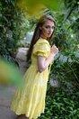 Rochie Florina galbena cu maneci bufante si model ajurat