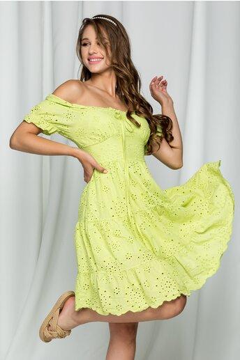 Rochie Florina verde deschis cu maneci bufante si model ajurat