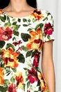 Rochie Florinda alba cu imprimeu floral