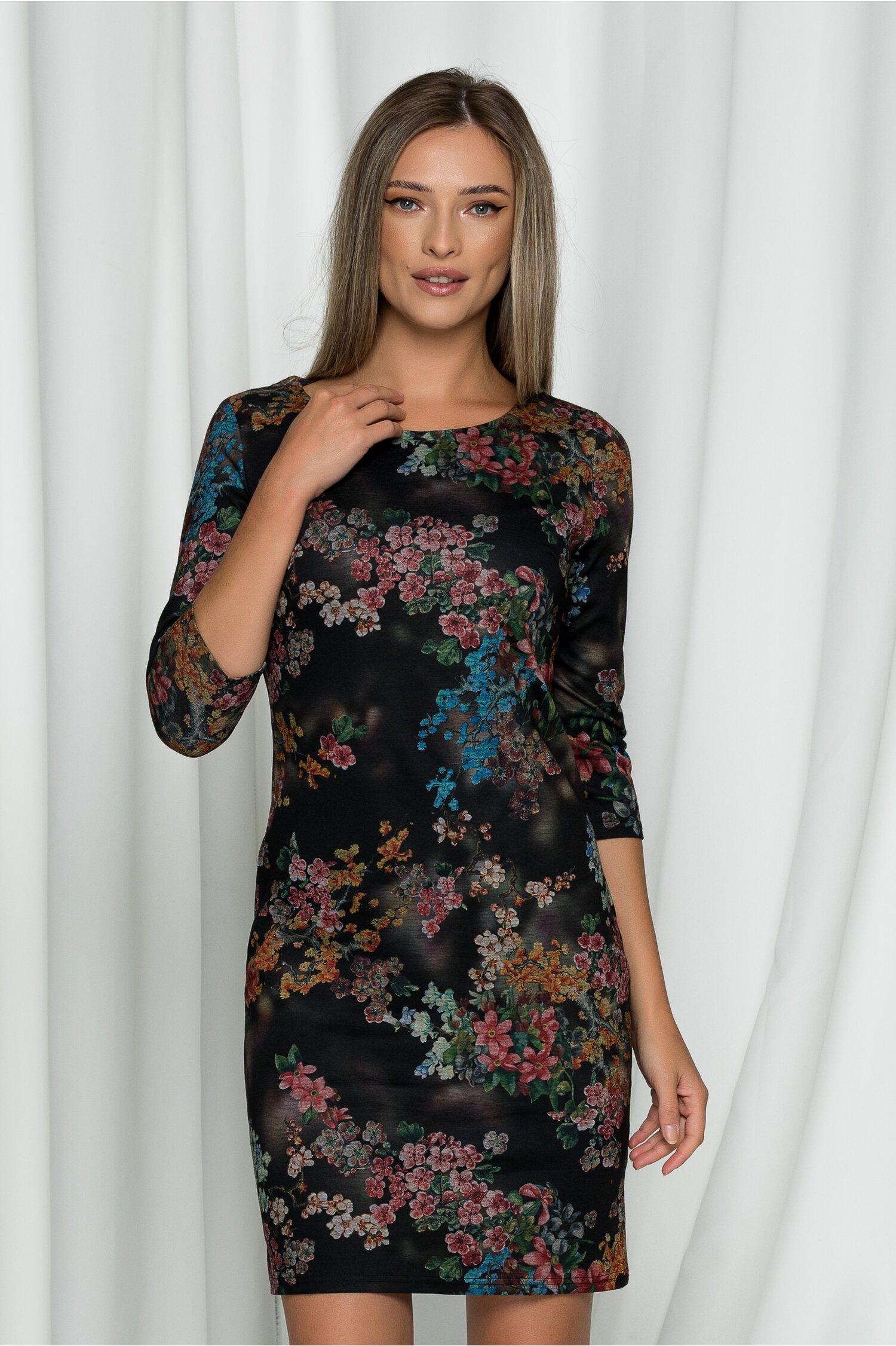 Rochie Flory neagra cu imprimeuri florale