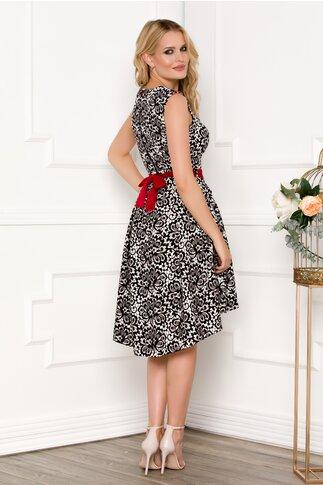 Rochie Fofy alba cu imprimeu negru floral tip dantela