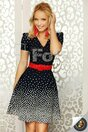 Rochie Fofy bleumarin cu buline si curea rosie