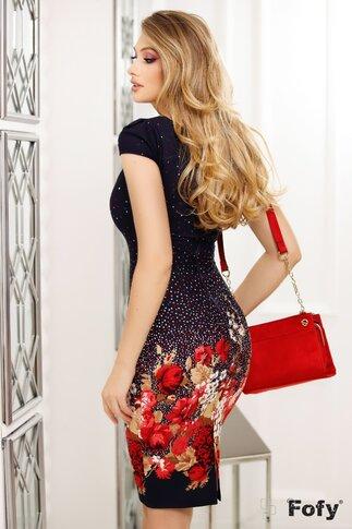 Rochie Fofy bleumarin cu imprimeu divers floral si picatele