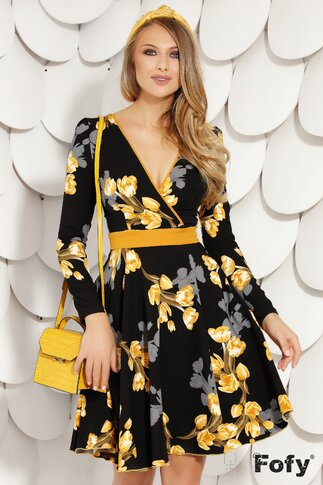 Rochie Fofy clos cu imprimeu floral galben si decolteu parte peste parte