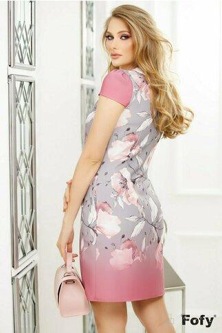 Rochie Fofy cu imprimeu floral roz cu gri  si croi lejer cu pliuri la decolteu