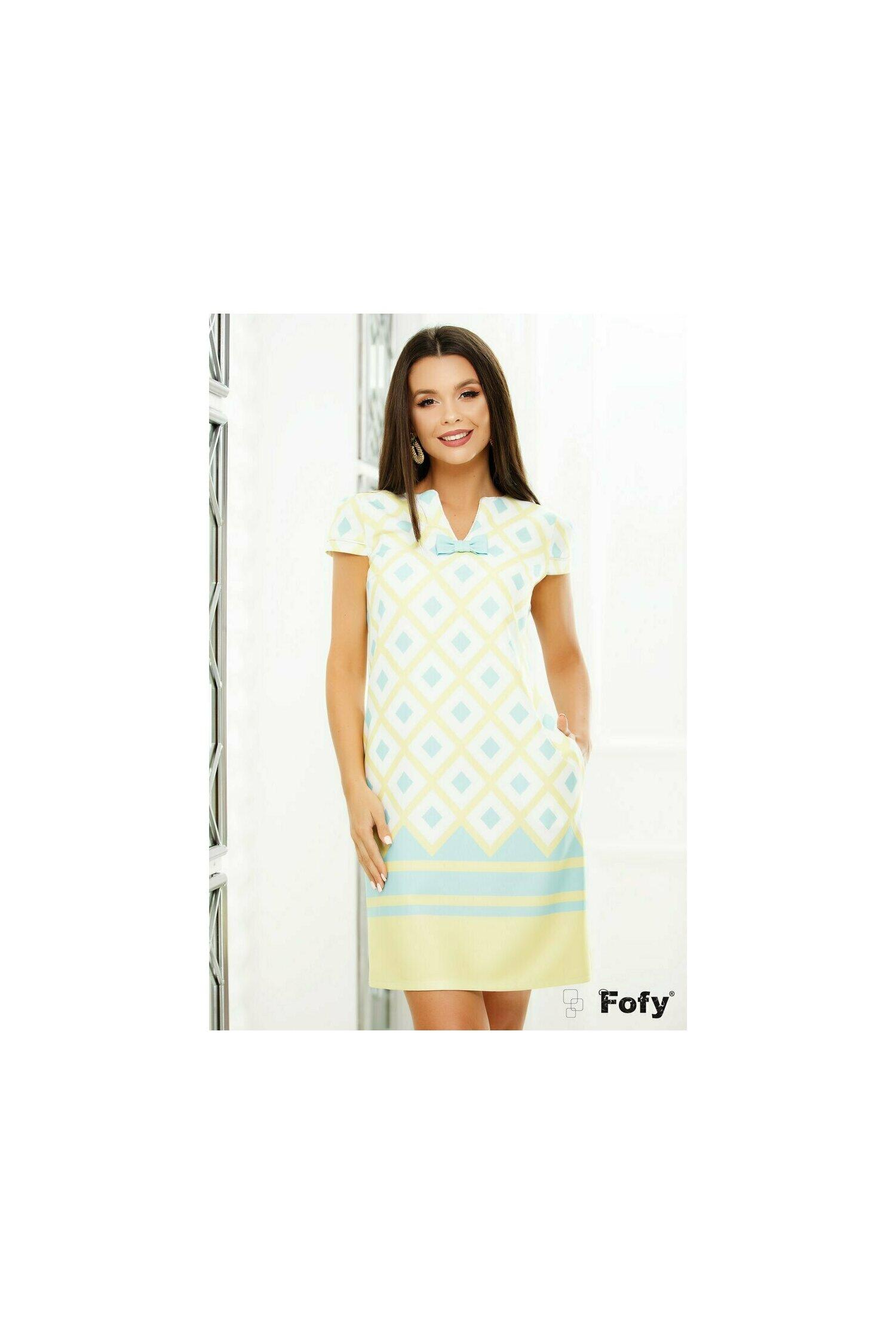 Rochie Fofy cu imprimeu geometric turquoise si galben pastel