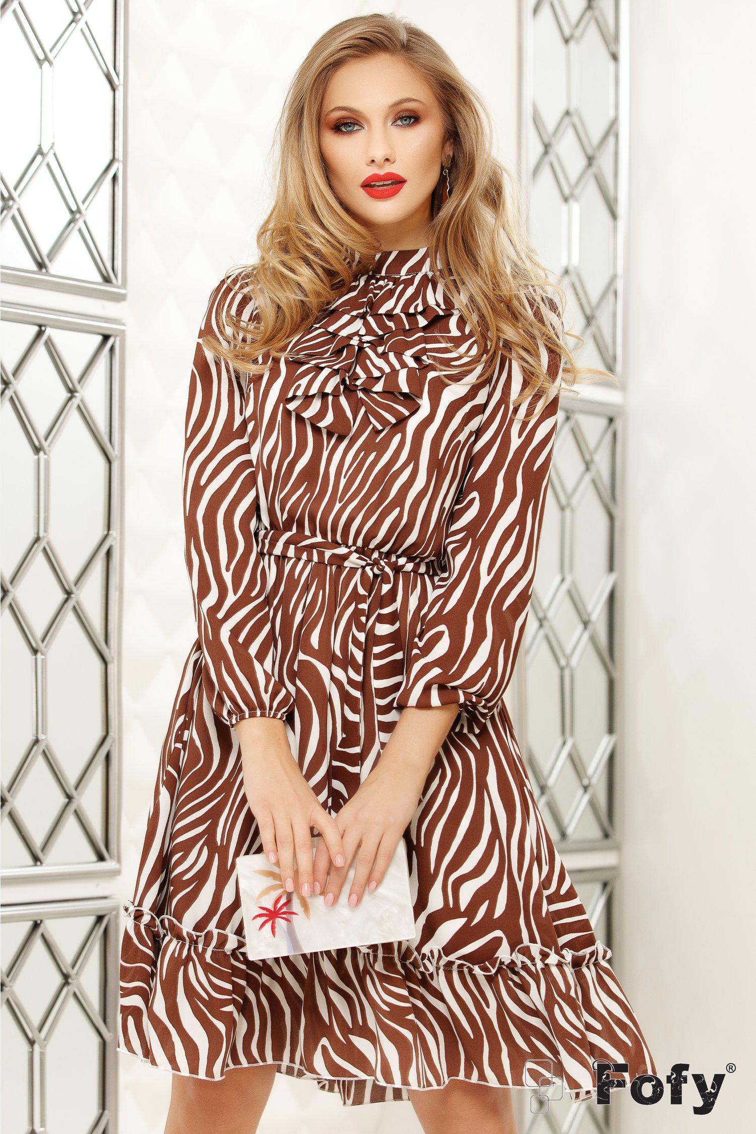 Rochie Fofy cu imprimeu zebra maro