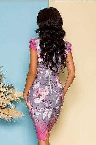 Rochie Fofy cu maneca scurta imprimeu floral si decolteu generos cu bordura roz prafuit
