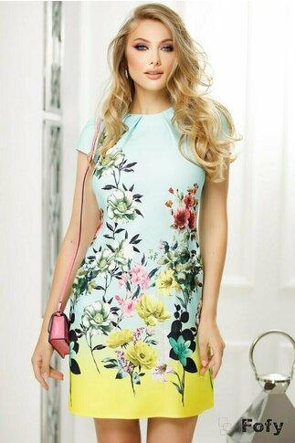 Rochie Fofy lime-menta cu imprimeu floral multicolor si croi lejer cu pliuri la decolteu