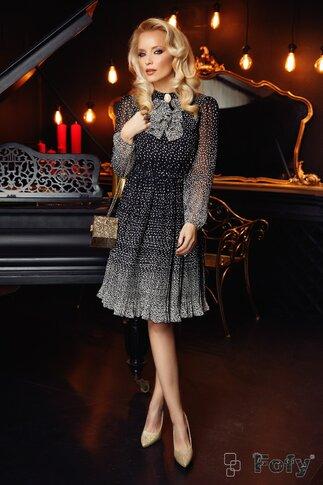 Rochie Fofy neagra plisata cu bulinuțe albe in degrade