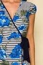Rochie Fofy petrecuta cu dungi si flori albastre