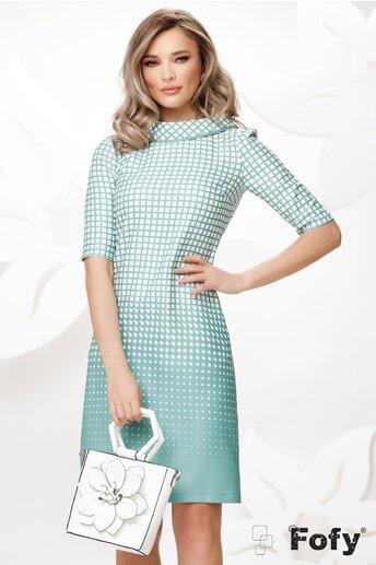 Rochie Fofy retro cu imprimeu discret verde mint