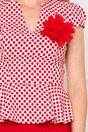 Rochie Fofy rosie cu buline si floare detasabila