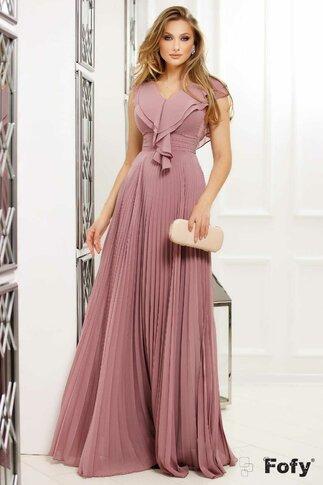 Rochie Fofy roz pudrat lunga cu volanase si fusta plisata