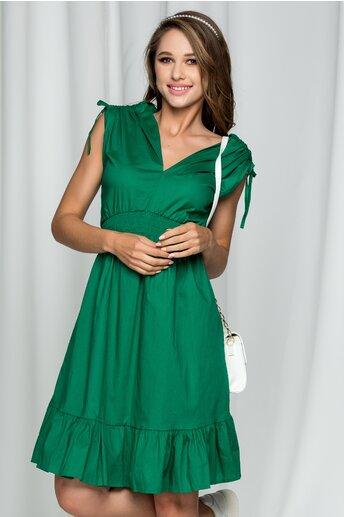 Rochie Francine verde inchis cu decolteu in v si snururi la umeri