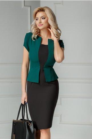 Rochie Freya midi negru cu verde