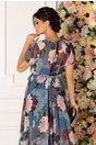 Rochie Freya petrol cu imprimeu floral pastelat