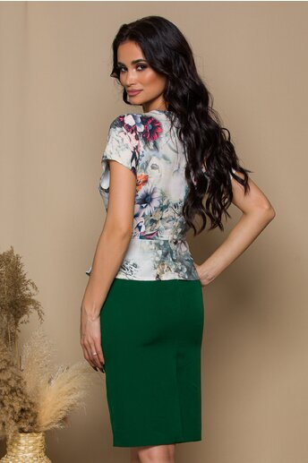 Rochie Freya verde cu imprimeuri florale pastelate