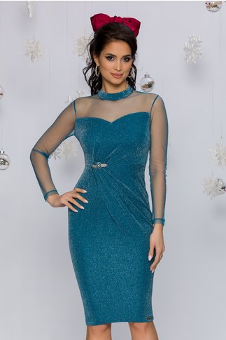 Rochie Frozy turcoaz accesorizata cu tull si lurex argintiu