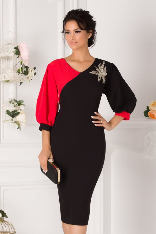 Rochie Gabi negru cu rosu si aplicatie florala din paiete si perle