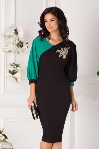 Rochie Gabi negru cu verde si aplicatie florala din paiete si perle