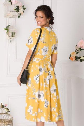 Rochie Gabriela galbena cu imprimeuri florale albe